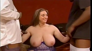 Closeup video of chubby Kitty Lee getting fucked by two black dudes