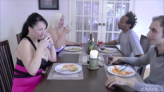 Double cum in the matter of mouth ending for cruel MILFs Lacey Starr & Devon Breeze