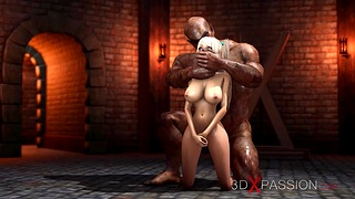 A sexy blonde gets fucked rough by a big carnal in the black hole