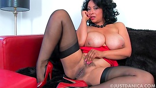 Large boobs MILF Danica Collins loves fingering her wet fuck hole