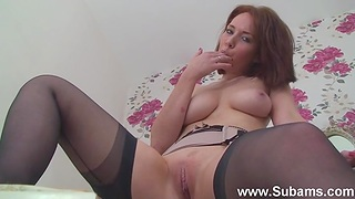 Foxy redhead Ellie Rose plays with nice tits increased by a horny cunt
