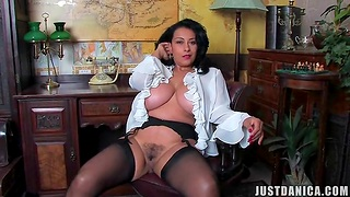Depreciatory mature Danica Collins spreads her legs to play with her cunt