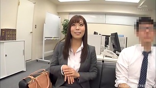 Astounding Japanese coworker drops her panties to tease and gives a do without