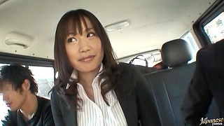 Luring Japanese chick Kasumi Uemura gives a BJ in roughly of the car