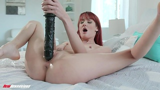 Gigantic sex toys stretch insatiable cunt of horn-mad housewife Andi Usquebaugh