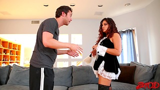 Wild fucking aloft the sofa with a big butt maid who loves cum