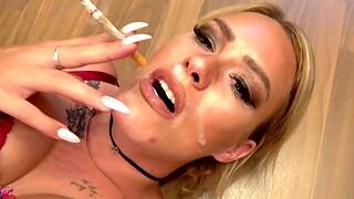 German smoking bitch win facial