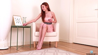 Redhead hottie Polly Cute enjoys fingering her shaved fuck hole