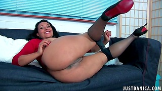 Mature slut Danica Collins takes retire from her nylon pantyhose to play