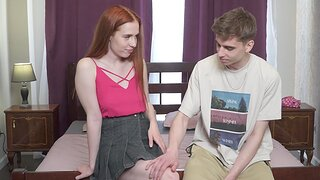 Fortunate shagging in the bedroom with adorable redhead Jessie Way