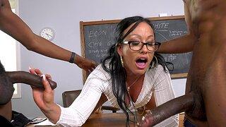 Cock hungry tutor Jennifer Colourless enjoys having interracial 3-way