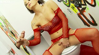 Slutty babe in white-hot fishnet enjoys sucking and riding a gloryhole cock