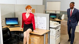 Interracial fucking in eradicate affect office with horny redhead Lauren Phillips