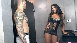 Jealous BF Doldrums His Seed Inside Sexy Ebony Shemale India Taina