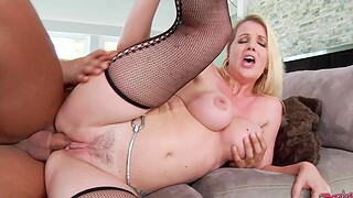 Pale blonde chick Anita Blue moans while getting fucked good