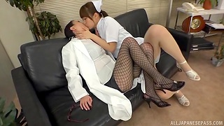 Asian nurse goes full mode with female's wet pussy