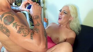 Mature blonde newborn gets fucked by a good looking tattooed dude
