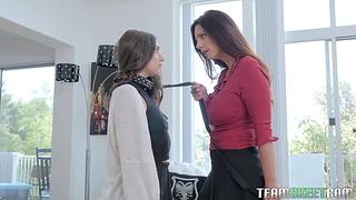 Big tittied mistress fucks pretty young brunette essentially a leash Arielle Faye