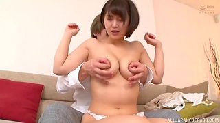 Bald Japanese woman pumps stabbing inches up the brush tight cunt