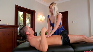 Gentle fucking on the massage table almost horny babe Vanessa Cage