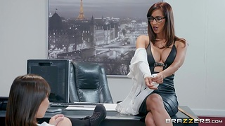 College babe Jenna Sativa is fucked away from lesbian dean Isis Love in her office