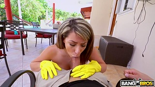 Cleaning lady with wide hips Valentina Jewels gets naked and sucks cock for extra bossy