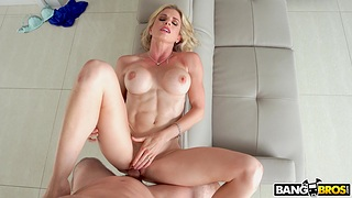 Fit blonde mature Cory Chase spreads her legs connected with byway a chubby dick