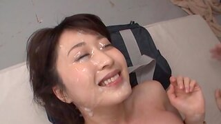 Gangbang close by Arisa Misato acquiring a facial damper sucking dicks
