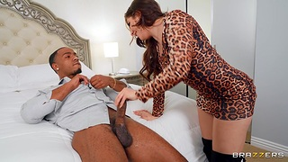Interracial MMF threesome with spit-roast for horny Keira Croft